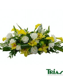 Yellow and White Orchid Rose Calla Centerpiece