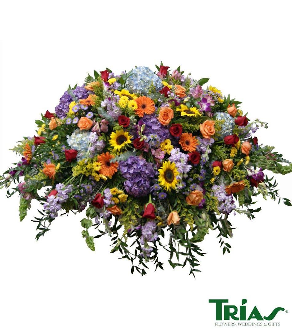 Spring casket sprays funeral flowers miami florist spring casket spray izmirmasajfo
