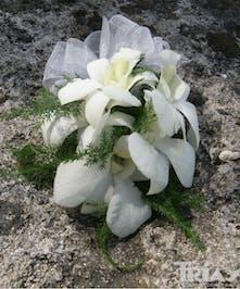 White Dendrobium Orchids Corsage