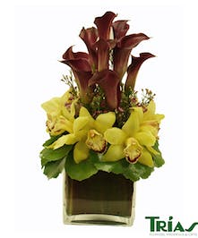 Beautiful bouquet with arrangement of yellow cymbidium orchids, fresh calla lilies and masangena leaves