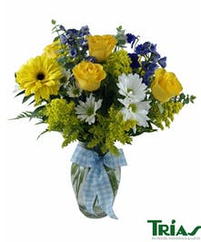 NeW Baby Boy Flowers Blue Yellow Vase