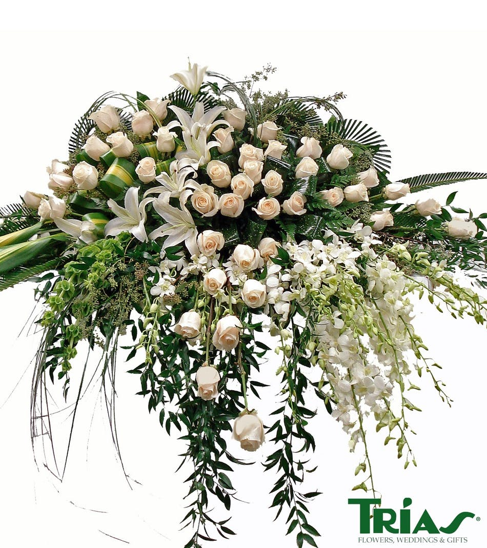 Miami florist casket sprays for the funeral all white casket spray izmirmasajfo Images