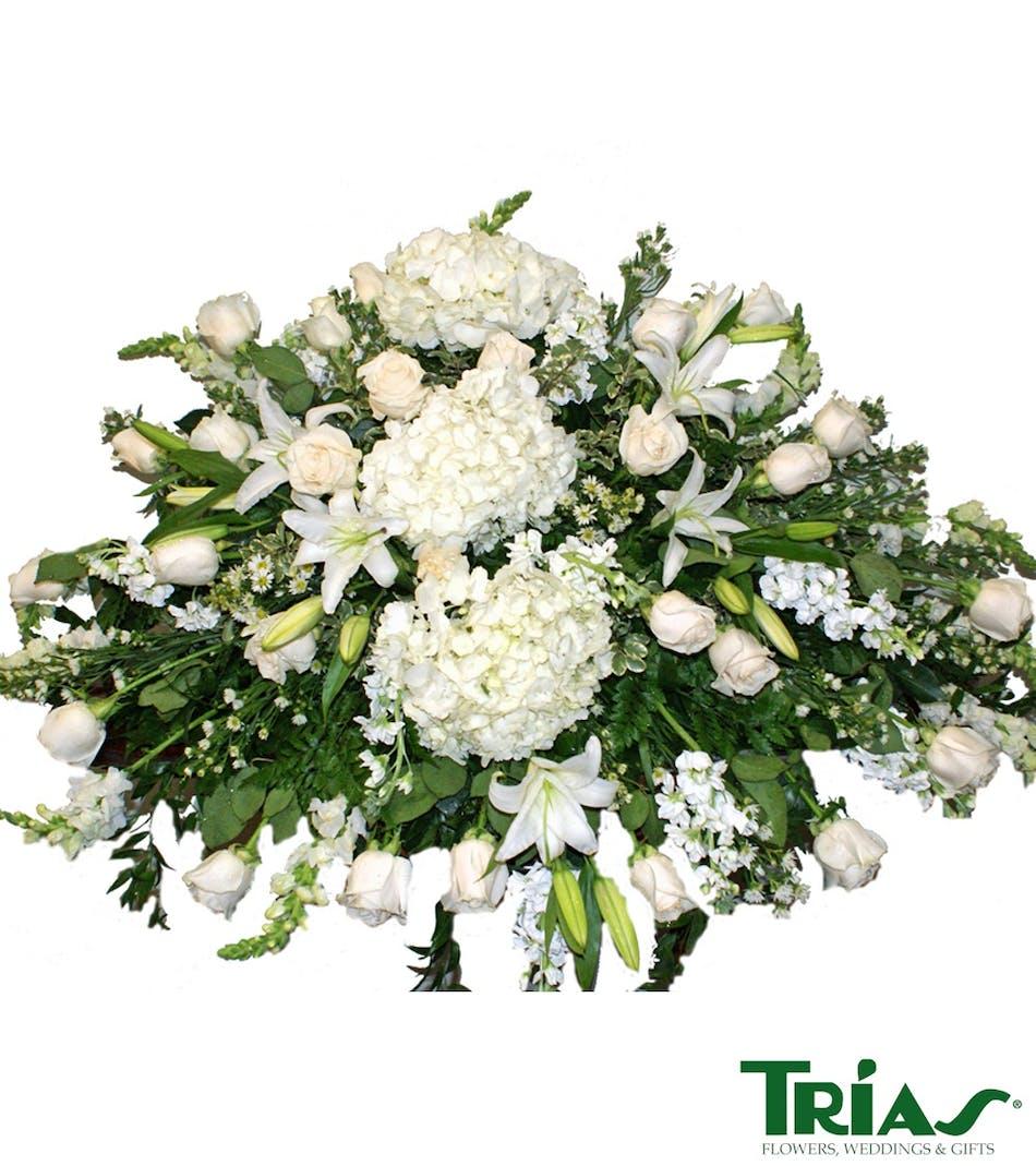 All white funeral casket spray miami flower delivery all white funeral casket spray sudario roses hydrangeas lilies izmirmasajfo Gallery