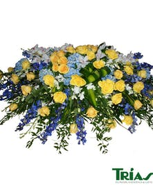 Blue Yellow Orchids Roses Hydrangeas Casket Spray