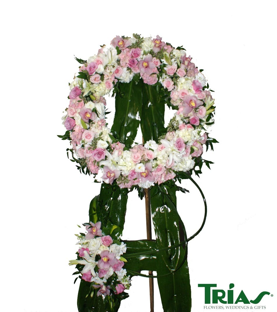 Respectful wreath white and pink standing funeral wreath miami respectful wreath white and pink standing funeral wreath miami flowers flowers in miami fl trias flowers and gifts izmirmasajfo