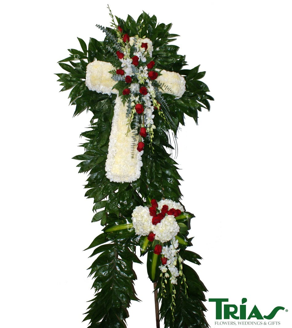 Funeral cross red roses white orchids elegant flowers arranged delivery today available order within izmirmasajfo