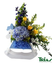 New Baby Boy Flowers Rocking Horse Arrangement
