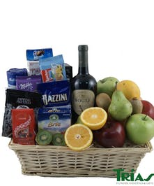 Fruit & Gourmet Basket With Wine Trias Flowers Miami Fl