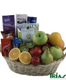 Fruit & Gourmet Basket with seasonal fruit, cookies, crackers, cheese and nuts.
