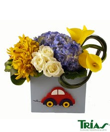 New Baby Boy Car Box Flower Arrangement