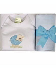 3 Marthas Blue Lamb Onesie & Fabric Burp Set