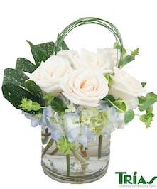 White Rose Blue Hydrangea Arrangement