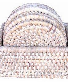 Coaster Box S/6 Round Woven Rattan - White Wash