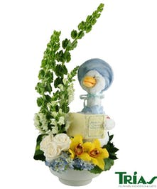 Fresh Flowers for a new baby boy and a lullaby mother goose