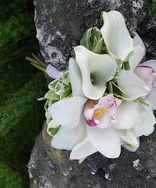 Beautiful bouquet inspired by orchids and mini callas.