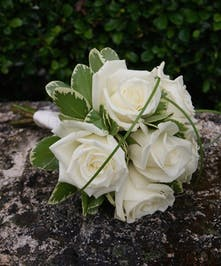 A classic junior bouquet of white roses.