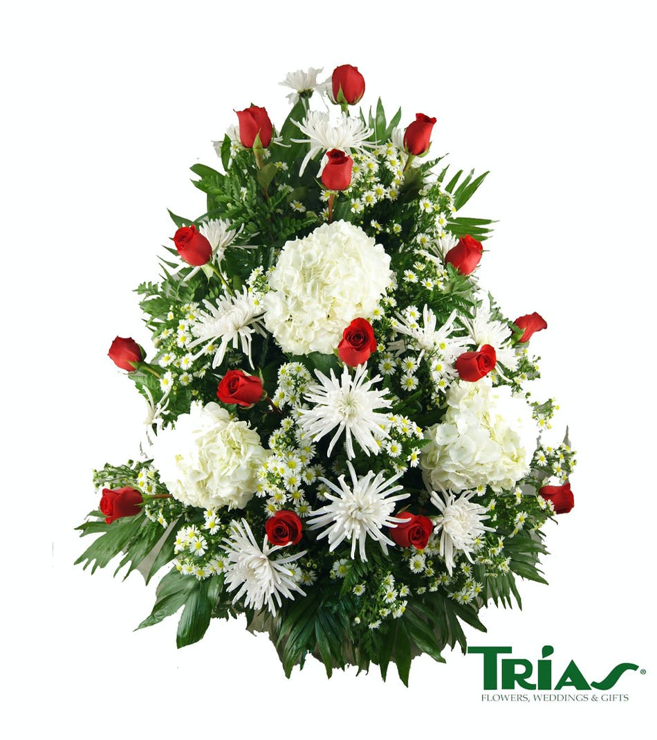 Funeral basket with roses hydrangeas miami flowers flowers in funeral basket with roses hydrangeas miami flowers flowers in miami fl trias flowers and gifts izmirmasajfo Image collections