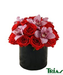Queen of Hearts Orchid and Rose Bouquet
