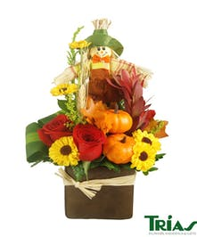 Autumn combination that includes roses and a scarecrow
