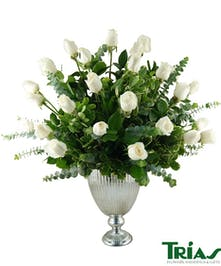 Silver Flower Pot - 2 Dz White Roses