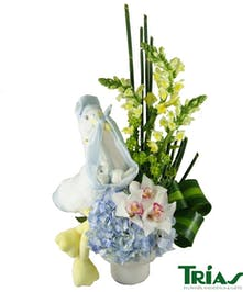 Blue & White Fresh flowers with a special delivery stork