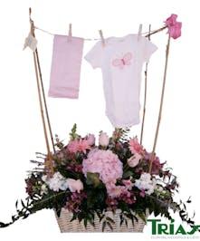 Baby clothes hanger flower arrangement