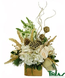 Gold and white holiday centerpiece