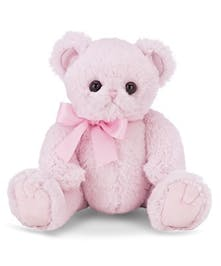 Pink stuffed bear for a new baby.