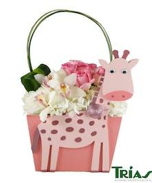 Baby girl giraffe keepsake box with fresh flowers