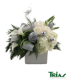 Winter Frost  Bouquet with white roses, hydrangeas, and snapdragons