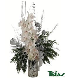 Winter Snowflakes bouquet designed with holiday decor and a variety of flowers