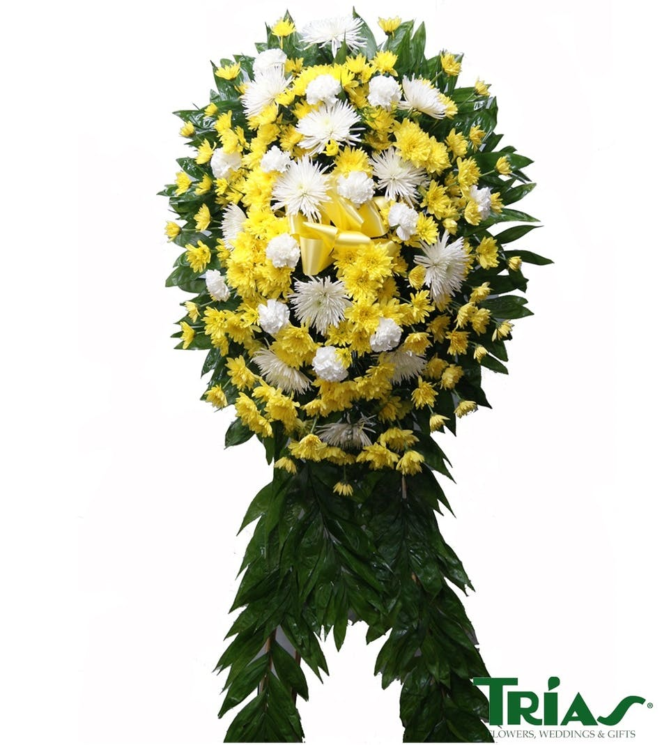 Funeral flower delivery to miami florida trias flowers funeral spray with white yellow flowers izmirmasajfo