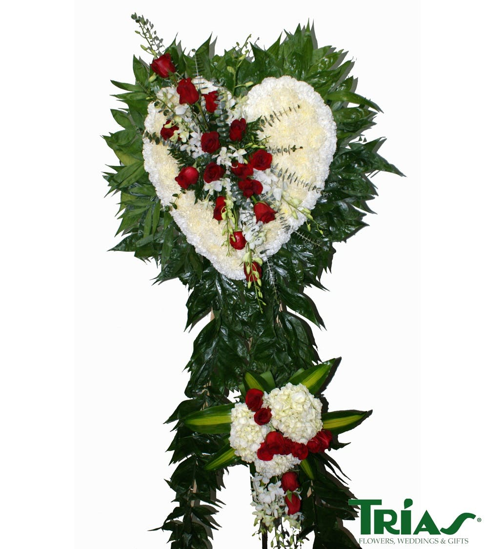 Funeral heart red roses white orchids trias flowers miami fl izmirmasajfo