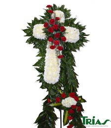 Funeral Cross - Red Carnations