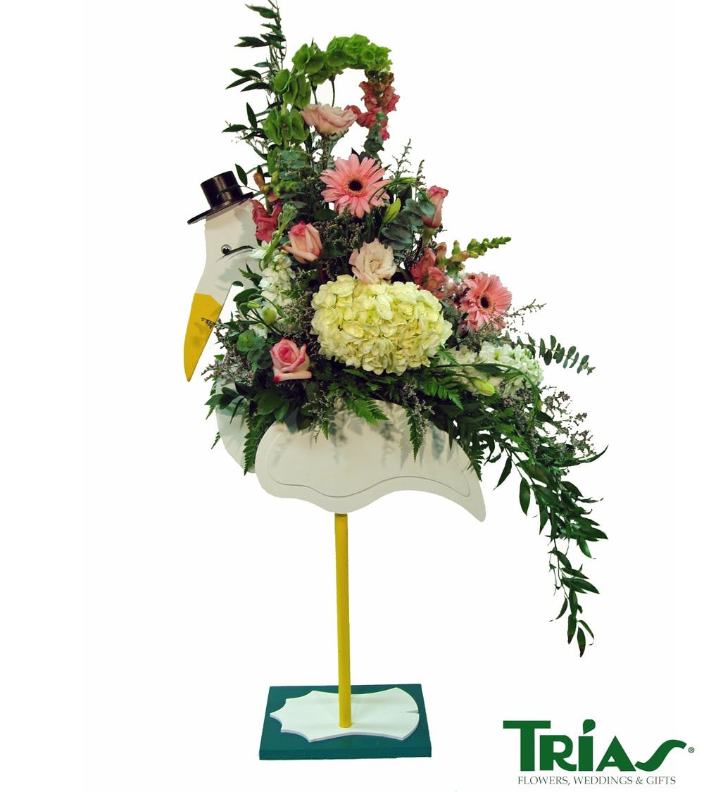 New Baby Girl Stork Flower Arrangement Miami Florist