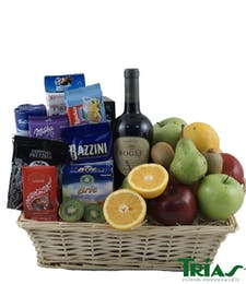 Fruit & Gourmet Basket with Wine