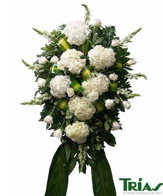 Funeral Spray - White Roses & Hydrangeas