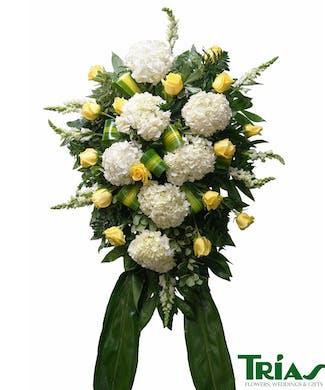 Funeral Spray - Yellow Roses & Hydrangeas