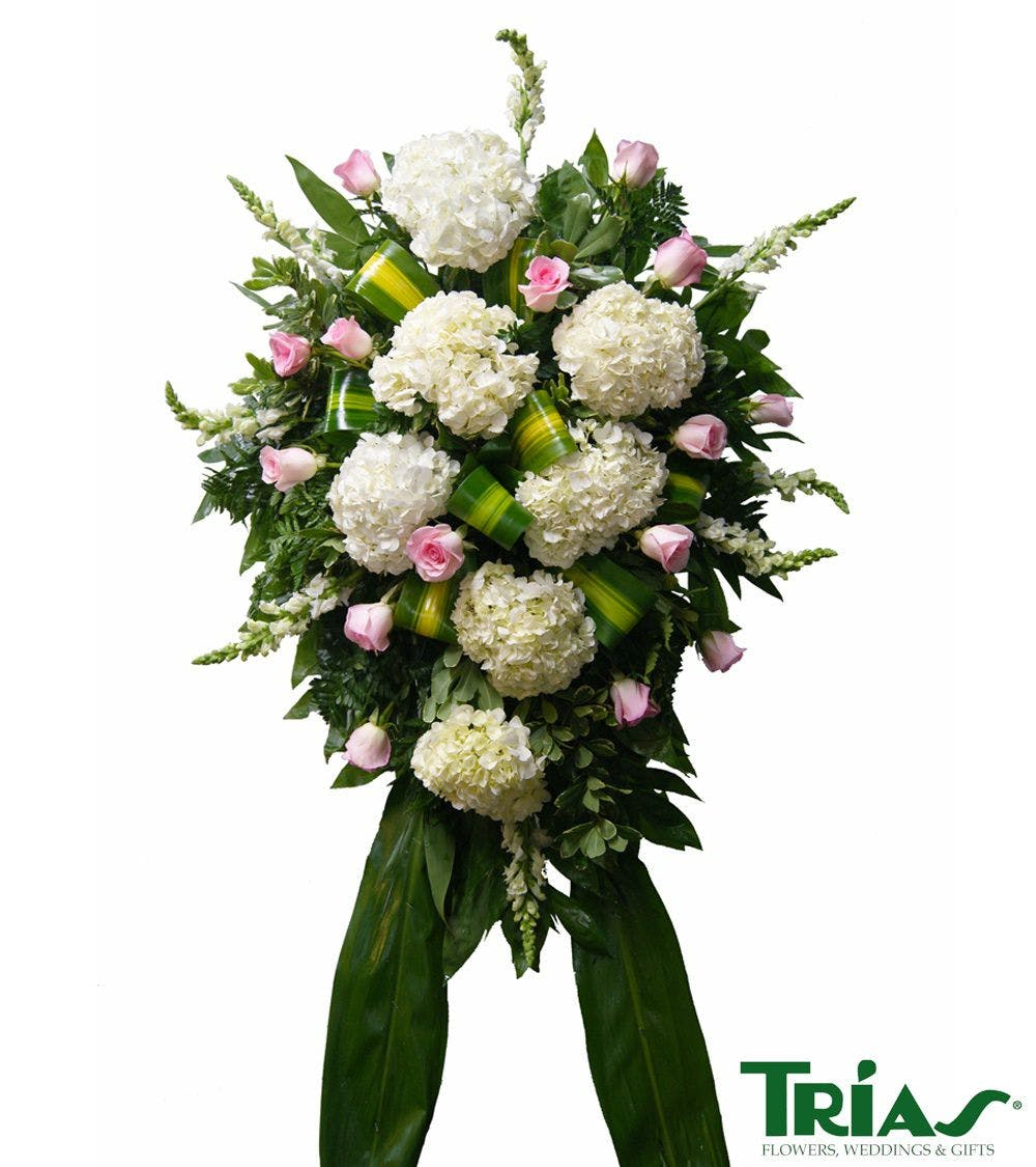 Funeral Spray With Pink Roses Hydrangeas Miami Florist