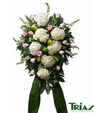 Funeral Spray - Pink Roses & Hydrangeas