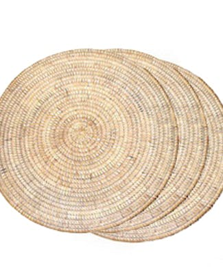 Round Woven Rattan Placemat - White Wash