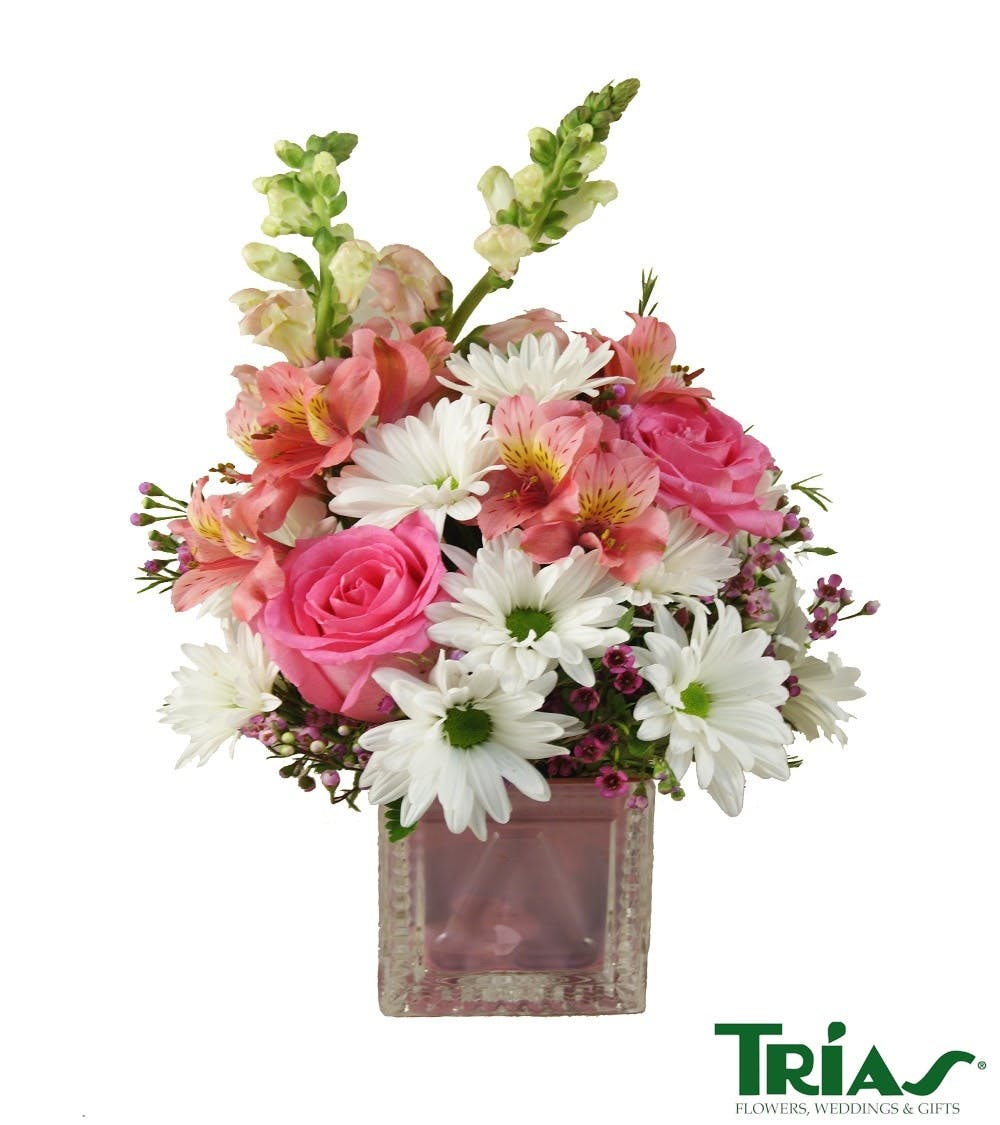 New Baby Girl Crystal Block Flower Arrangement Delivery Miami Fl
