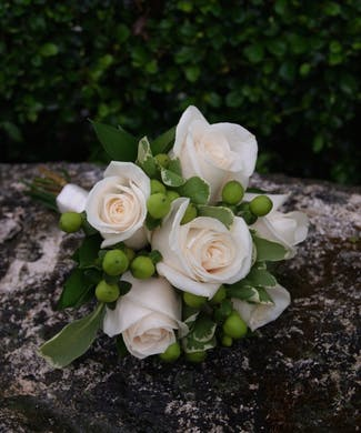 Junior Bouquet  White Roses & Green Hypericum