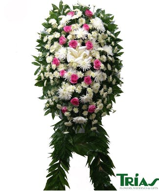 Funeral Spray -  White & Pink Roses