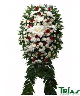 Funeral Spray -  White & Red Roses