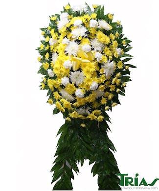 Funeral Spray -  White & Yellow
